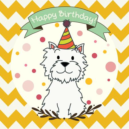 perro caricatura: Invitaci�n o de felicitaci�n del modelo Tarjeta linda y dulce con dibujados a mano dibujo animado del perro del doodle y bandera de la cinta en chevron fondo sin fisuras patr�n. Vectores