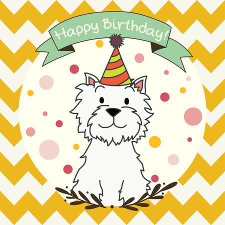 Cute and sweet invitation or greeting card template with hand drawn cartoon doodle dog and ribbon banner on chevron seamless pattern background.