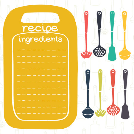 recipe card: Recipe card design with kitchen utensils and frame in shape of cutting board. Ladle, spatula, skimmer.