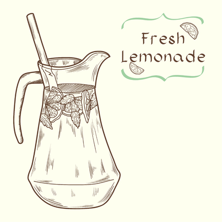 Doodle hand drawn jug of fresh home made lemonade on light background. Vector illustration for restaurant or cafe menu.