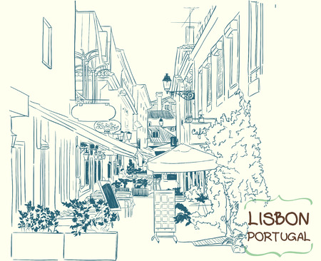 building sketch: Vector illustration of the street drawn in sketch style. Quiet street with a street cafes in a Mediterranean town. Lisbon, Portugal.