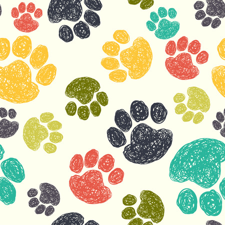 Cute seamless pattern with colorful hand drawn doodle paw prints. Animal background.