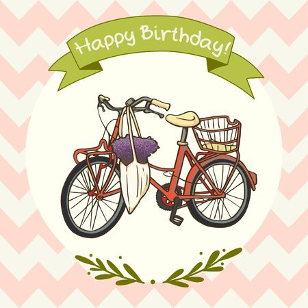 chevron background: Cute and sweet invitation or greeting card template with hand drawn red vintage bicycle and ribbon banner on chevron background.