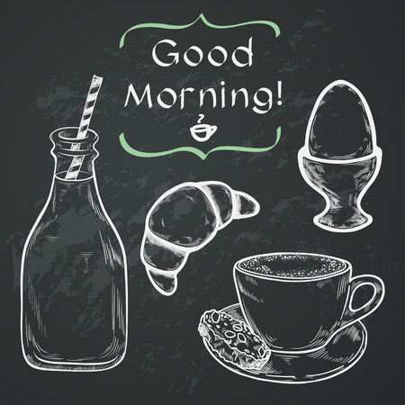 boiled: Hand drawn sketch of morning cup of coffee, boiled egg, bottle of milk and croissant with place for a text. Vintage style breakfast illustration on chalkboard background.