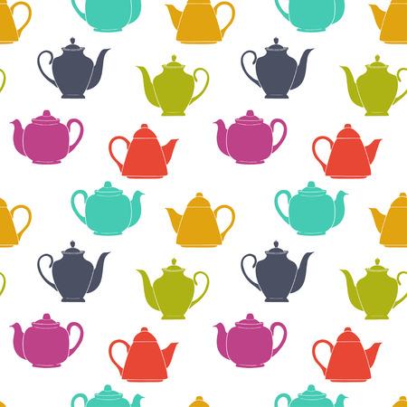 tarde de cafe: Teja de patr�n transparente con coloridas de caf� y tetera siluetas. Mano doodle fondo t� de la tarde. Vectores