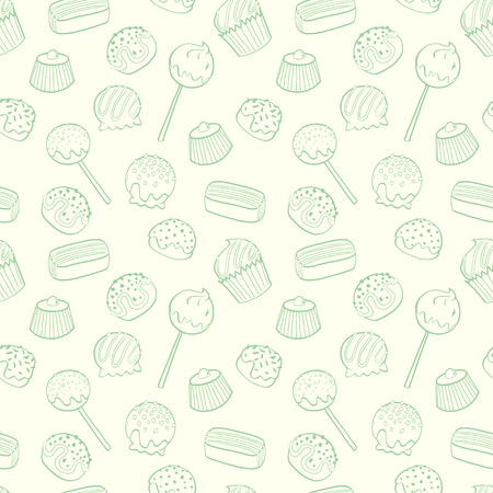 Cute seamless pattern made of hand drawn doodle chocolate sweets on light background. Cartoon candy background. Иллюстрация