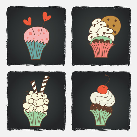 muffins: Cute set of bright colorful cupcakes on chalkboard background. Hand drawn doodle muffins. Illustration