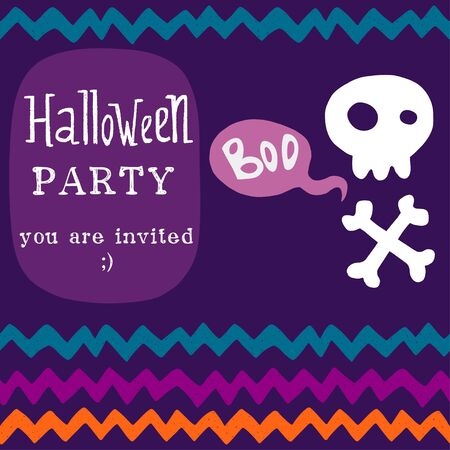 skull with crossed bones: Halloween invitation or greeting card template with hand drawn cartoon skull with crossed bones and chevron pattern on the background.