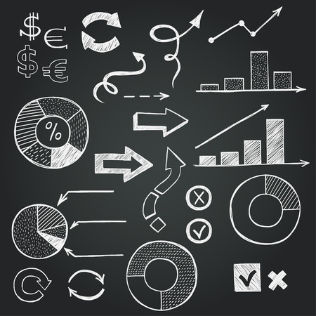 check sign: Set of hand drawn sketchy business icons on chalkboard background. Stock market related images. Illustration