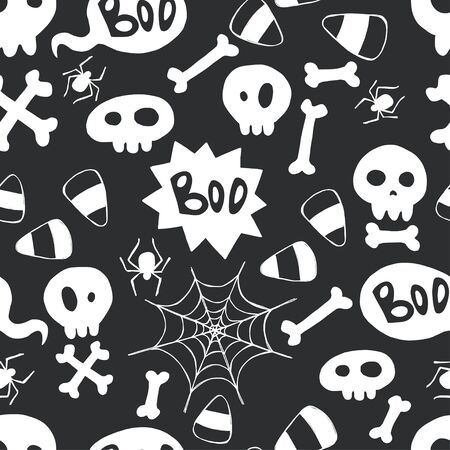 spider webs: Seamless pattern with hand drawn halloween doodles. Childish tiling background with cartoon spooky skulls, bones and spider webs. Illustration