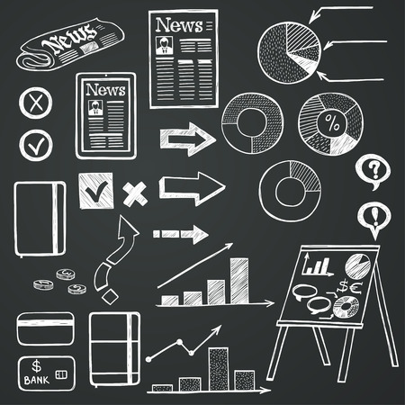 yes or no to euro: Set of hand drawn sketchy business icons on chalkboard background. Stock market related images. Illustration