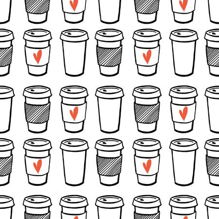 taza cafe: Patrón sin fisuras con dibujados a mano tazas del doodle de café para llevar. Cartoon mañana modelo mosaico café.