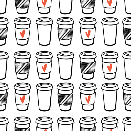drinking coffee: Seamless pattern with hand drawn doodle cups of coffee to go. Cartoon morning coffee tiling pattern.