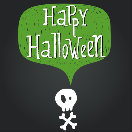 skull with crossed bones: Hand drawn comic speech bubble with Happy Halloween lettering and skull with crossed bones silhouette on chalkboard background. Illustration