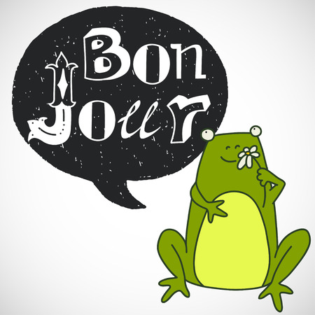 bubble letters: Creative graphic message made of different hand drawn letters in chalkboard speech bubble. Hand drawn lettering Bonjour and doodle cartoon sitting frog smelling a flower. Illustration