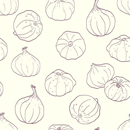 tiling background: Seamless pattern made of sketchy hand drawn figs. Summer fruit tiling background.