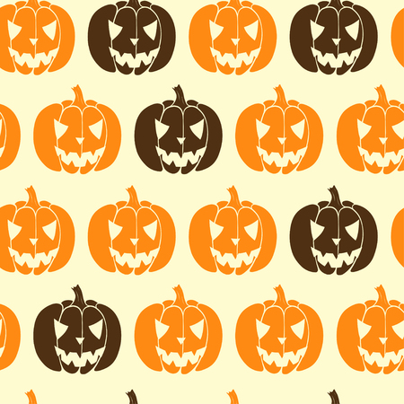 tiling background: Hand drawn halloween seamless pattern with cartoon spooky Jack-o-lanterns. Tiling background with doodle pumpkin silhouettes.