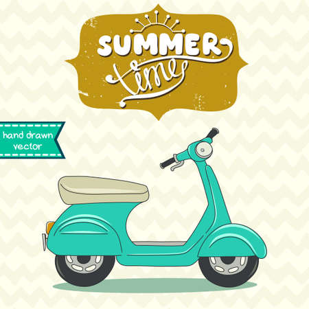 chevron background: Doodle hand drawn cartoon scooter on chevron background. Old school motorbike with hand drawn frame and Summer Time lettering.