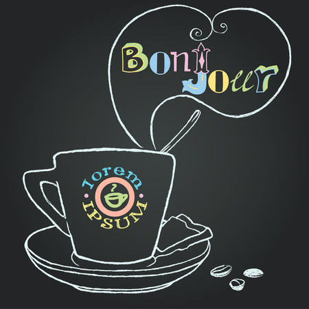 coffee company: Hand drawn cup of coffee with a spoon in it on the blackboard background with speech bubble for your text. Chalk drawing with hand drawn lettering and company label template. Illustration