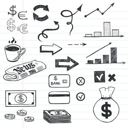 notebook paper background: Set of hand drawn sketchy business icons on lined notebook paper background. Money related images.