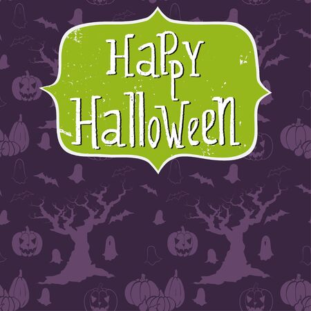 spooky tree: Cute halloween invitation or greeting card template with frame and hand written Happy Halloween lettering. Doodle seamless pattern with cartoon spooky tree, ghost, bat, pumpkin and Jack-o-lantern.