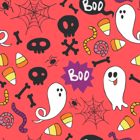 hand bones: Seamless pattern with hand drawn halloween doodles. Childish tiling background with cartoon spooky ghosts, skulls, bones, spider and candy corns.
