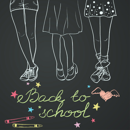 Hand drawn back to school sketch. Notebook doodles with lettering, girl's legs and crayons on chalkboard background.