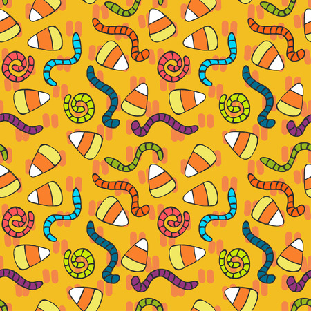 tiling background: Childish seamless pattern with hand drawn doodle candy corn and worms. Halloween sweets tiling background.