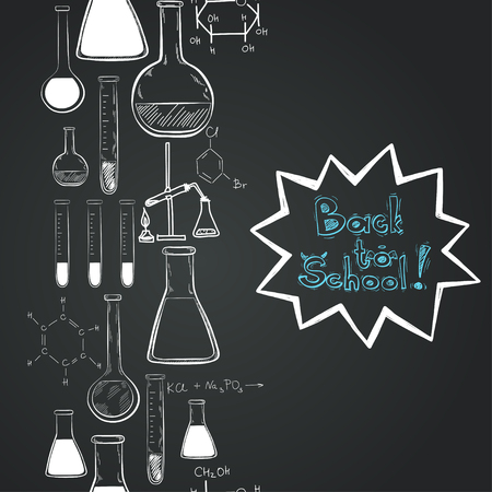 chemistry lab: Back to school vertical seamless pattern. Notebook doodles with chemical formulas, flasks and chemical reagents on chalkboard background. Hand drawn illustration.