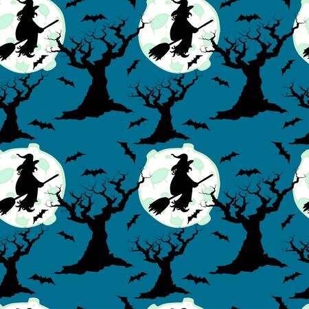 leafless: Halloween seamless pattern with witch silhouettes, moon, scary leafless trees and bats. Cartoon tiling background.