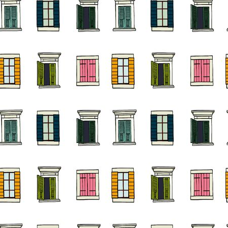 wallpaper  eps 10: Seamless pattern made of colorful hand drawn sketchy italian windows on white background.
