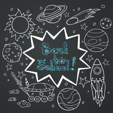 science text: Set of cartoon space elements: rockets, planets and stars. Hand drawn doodle objects on chalkboard background. Childish back to school frame with text box.