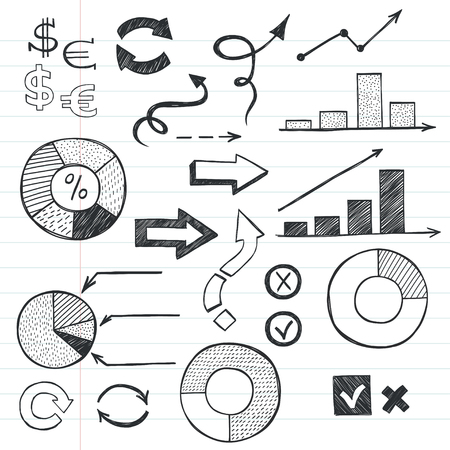 notebook paper background: Set of hand drawn sketchy business icons on lined notebook paper background. Stock market related images.
