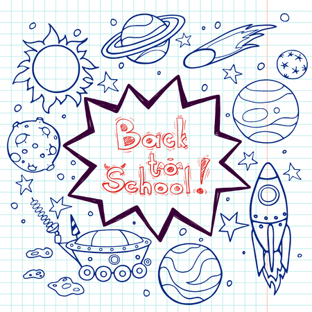 cartoon rocket: Set of cartoon space elements: rockets, planets and stars. Hand drawn doodle objects on squared notebook paper background. Childish back to school frame with text box. Illustration