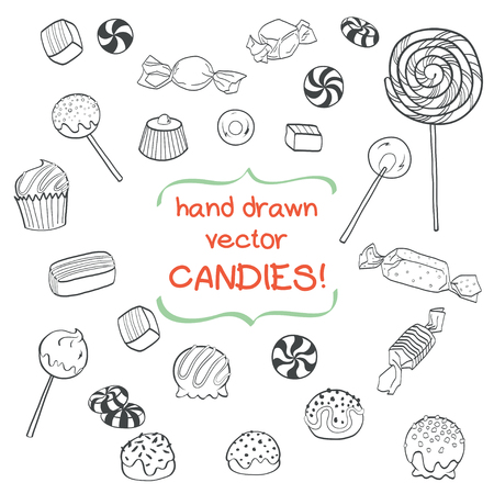 lollipop: Cute set of hand drawn doodle sweets isolated on white background. Cartoon candy collection.