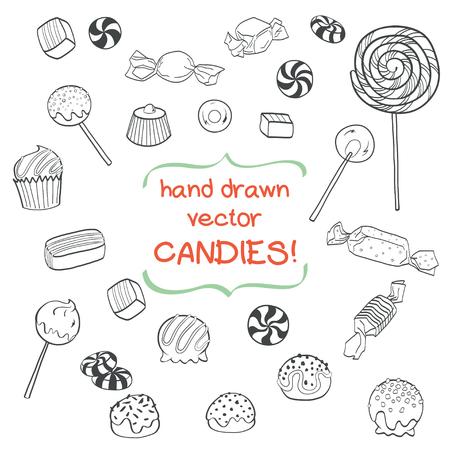 paleta de caramelo: El sistema lindo de dulces de bosquejo dibujado a mano aisladas sobre fondo blanco. colección de caramelo de la historieta.