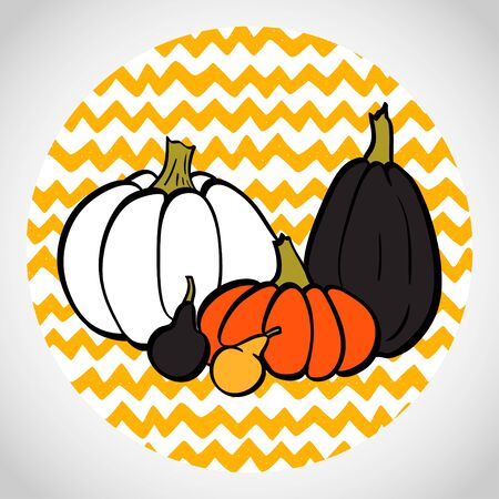chevron background: Hand drawn halloween colorful pumpkins in circle. Doodle chevron background. Illustration