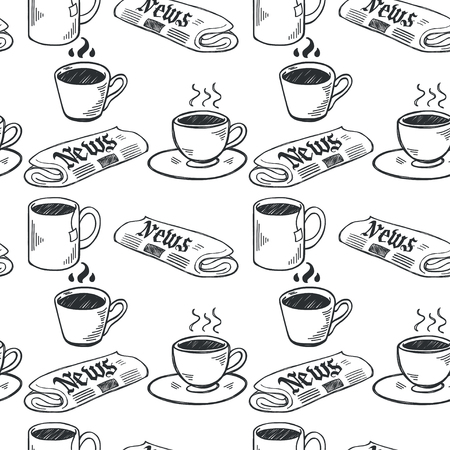 hot drinks: Seamless pattern with sketchy hand drawn coffee cups and newspapers on white background. Coffee break illustration. Illustration