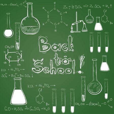 chalk frame: Hand drawn back to school sketched elements on chalkboard background. Notebook doodles with lettering, chemical flasks, formulas.