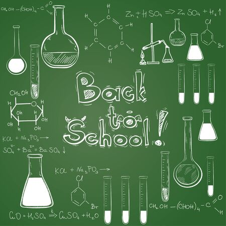 Hand drawn back to school sketched elements on chalkboard background. Notebook doodles with lettering, chemical flasks, formulas.