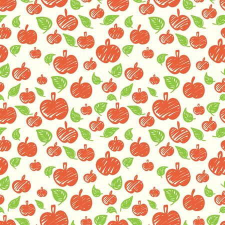 red apples: Seamless pattern made of doodle hand drawn red apples.