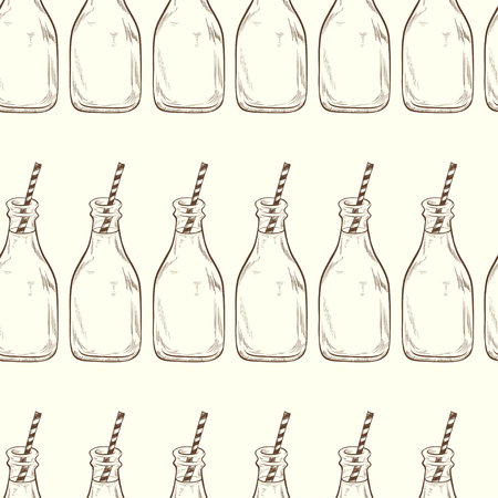 tiling background: Seamless pattern with hand drawn sketchy bottles with striped straws. Cold drinks tiling background.