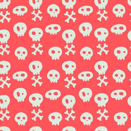 tiling background: Halloween seamless pattern with hand drawn doodle skulls and crossed bones. Holiday tiling background. Illustration