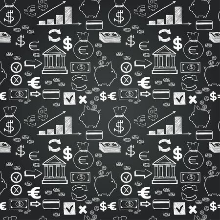Seamless pattern with money hand sketched icons on chalkboard background. Tiling business doodles backdrop. Vettoriali