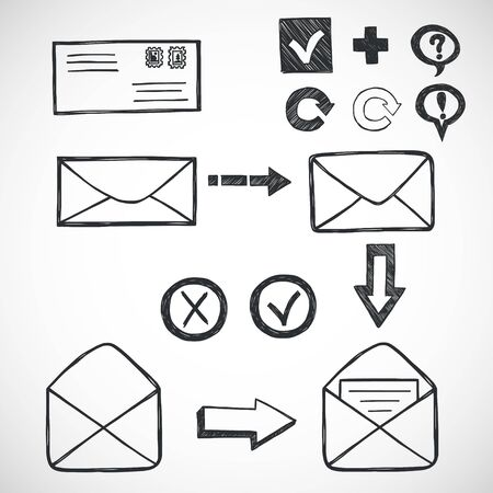 eps icon: Set of hand drawn sketchy letters and mail symbols.