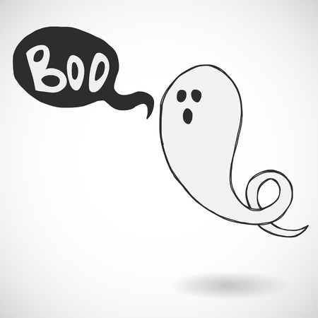Spooky cartoon halloween ghost with speech bubble and Boo lettering, isolated on white background. Hand drawn childish illustration.