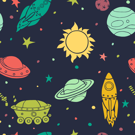 Seamless pattern with space, rockets, planets and stars. Childish background. Hand drawn vector illustration.