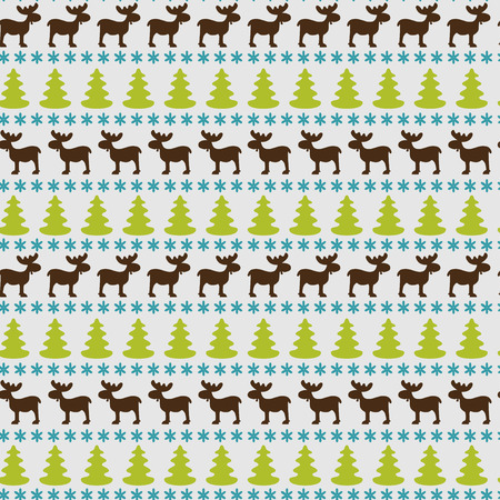 winter holidays: Christmas seamless pattern with moose, fir tree and snowflake silhouettes on blue backdrop. Winter holidays background.