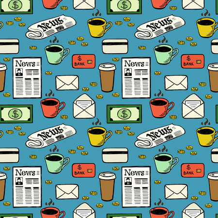 wallpaper  eps 10: Business seamless pattern with hand drawn colorful doodle money, coffee cups, newspapers, letters and credit cards. Illustration