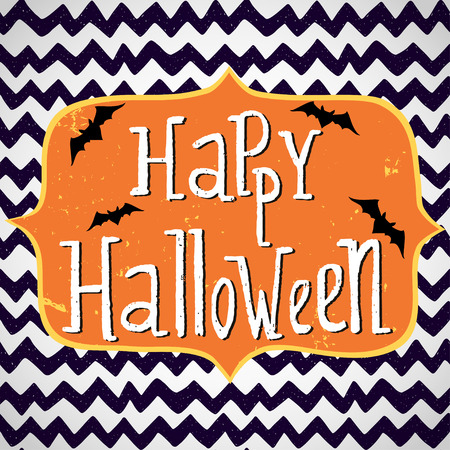 Cute halloween invitation or greeting card template with cartoon bats on hand drawn doodle chevron background. Hand written Happy Halloween lettering and frame for the text. Çizim